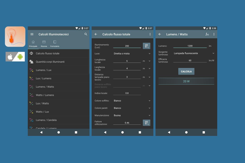 Schermate App Calcoli Illuminotecnici per smartphone