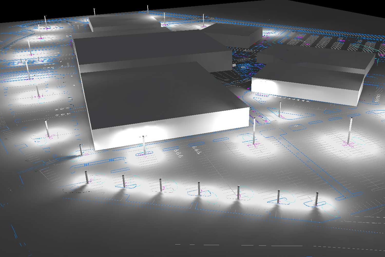 Esempio di illuminazione stradale per zona industriale fatta con Dialux