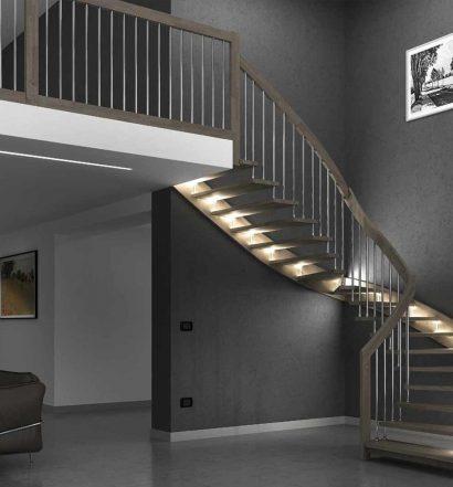 Esempio di illuminazione su una scala a giorno moderna