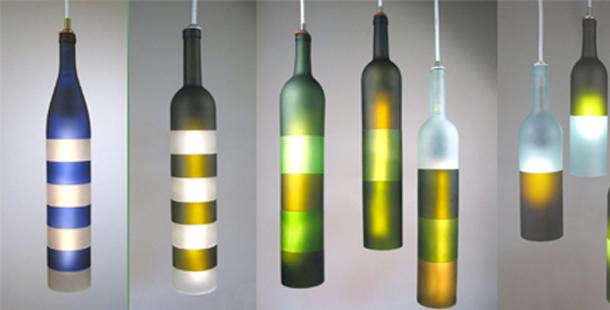 Lampade a sospensione con bottiglie di vino