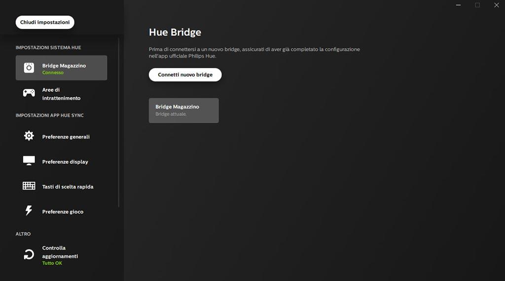Hue Sync connessione Bridge