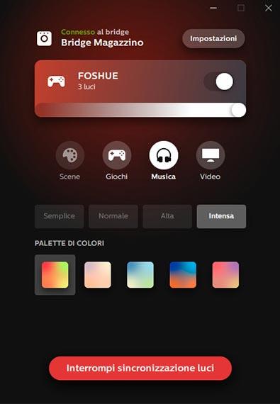 Schermata Philips Hue Sync Audio colori