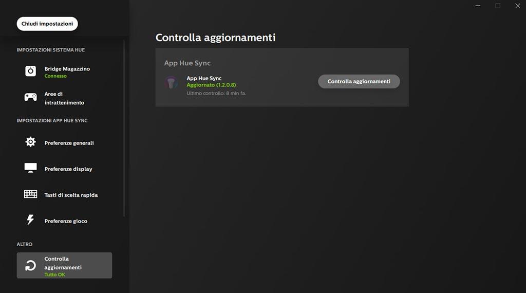 Hue Sync controllo aggiornamenti