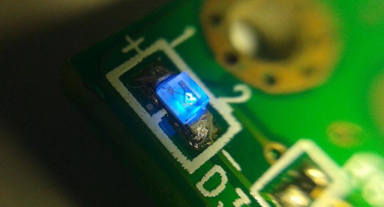 Chip Led SMD installato su un circuito elettrico stampato